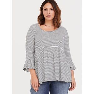Torrid | Striped Bell Sleeve Babydoll Top